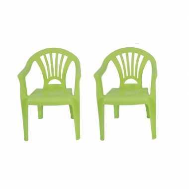 2x plastic kinderstoelen groen 37 x 31 x 51 cm