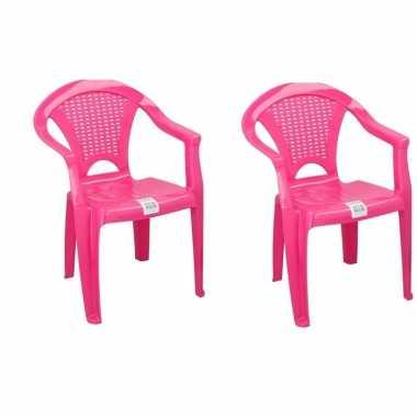 2x plastic kinderstoelen roze gesloten leuning 37 x 31 x 51 cm