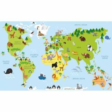 2x posters wereldkaart met dieren / natuurlijke leefgebieden voor op kinderkamer / school 84 x 52 cm