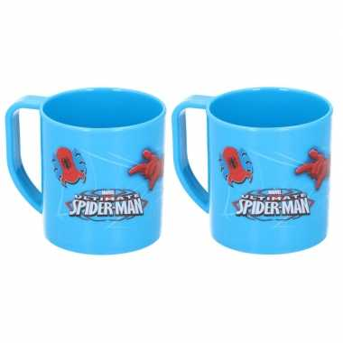 2x spiderman disney mokken onbreekbare kinder drinkbekers blauw