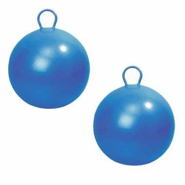 2x stuks blauwe skippybal 45 cm buitenspeelgoed voor kinderen