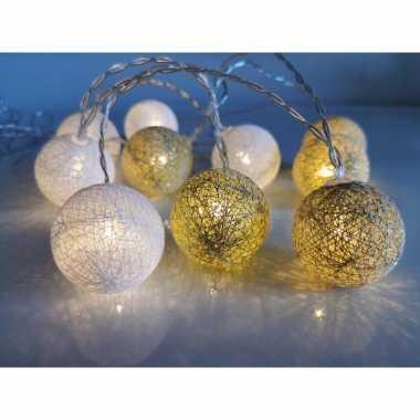 2x stuks feestverlichting lichtsnoer met katoenen balletjes wit/goud 300 cm