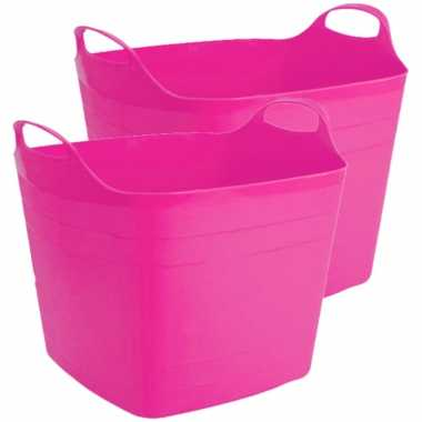2x stuks flexibele kuip emmer/wasmand vierkant fuchsia roze 40 liter