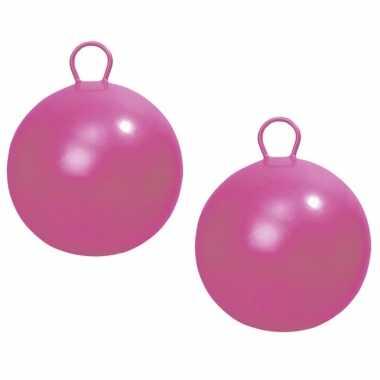 2x stuks roze skippybal 45 cm buitenspeelgoed voor kinderen