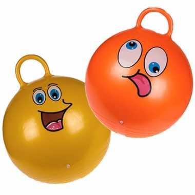 2x stuks skippyballen smiley voor kinderen goud/groen 45 cm