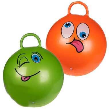 2x stuks skippyballen smiley voor kinderen oranje/groen 45 cm