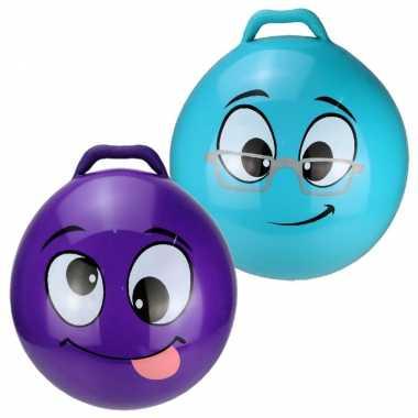 2x stuks skippyballen smiley voor kinderen paars/blauw 45 cm