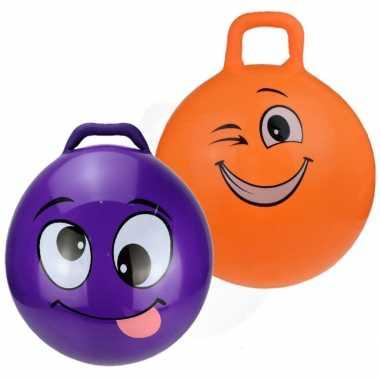 2x stuks skippyballen smiley voor kinderen paars/oranje 45 cm
