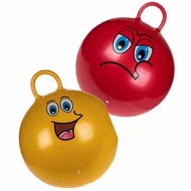 2x stuks skippyballen smiley voor kinderen rood/goud 45 cm
