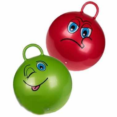 2x stuks skippyballen smiley voor kinderen rood/groen 45 cm