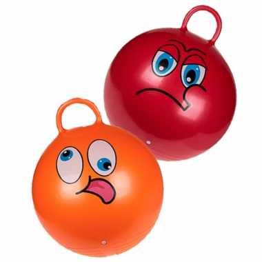2x stuks skippyballen smiley voor kinderen rood/oranje 45 cm