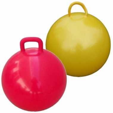 2x stuks skippyballen voor kinderen geel/rood 60 cm
