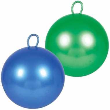 2x stuks skippyballen voor kinderen groen/blauw 70 cm