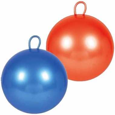 2x stuks skippyballen voor kinderen rood/blauw 70 cm