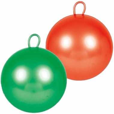 2x stuks skippyballen voor kinderen rood/groen 70 cm