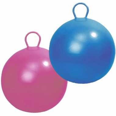 2x stuks skippyballen voor kinderen roze/blauw 45 cm