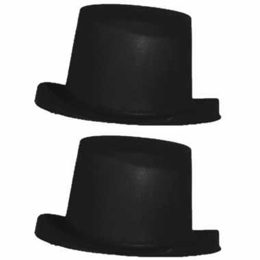 2x stuks zwarte hoge goochelaars hoed voor kinderen