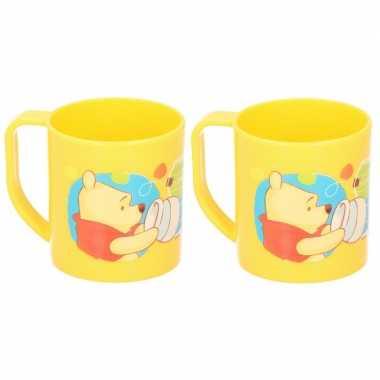 2x winnie de poeh disney mokken onbreekbare drinkbekers geel