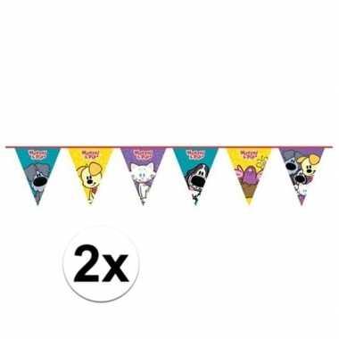 2x woezel en pip themafeest vlaggenlijn 4 meter