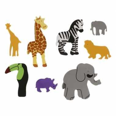 32x foam safari dieren knutsel materiaal voor kinderen