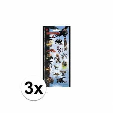 3x draken stickervel