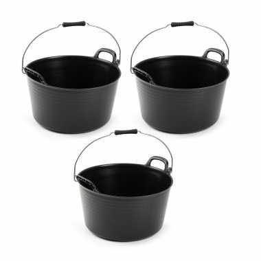 3x flexibele emmers/wasmanden zwart met hengsel 26 liter
