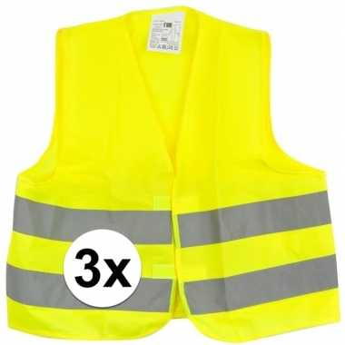3x gele veiligheidsvesten voor kinderen