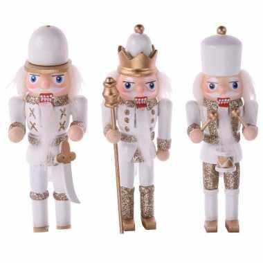 3x kerstboomhangers notenkrakers poppetjes/soldaten 12 cm kerstversiering