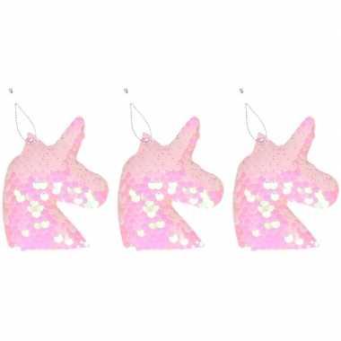 3x kersthangers figuurtjes eenhoorn roze met pailletten 7 cm