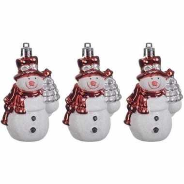 3x kersthangers figuurtjes sneeuwpop 8 cm