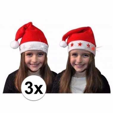3x kerstmuts met rode sterren en lichtjes voor kinderen