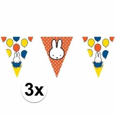 3x nijntje vlaggenlijnen versiering 10 meter