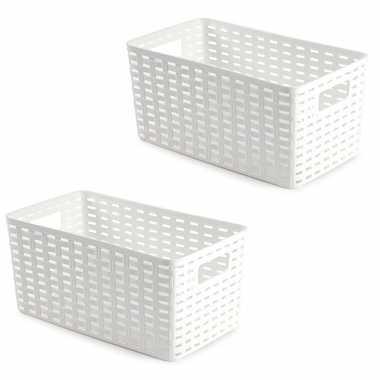 3x opbergboxen/opbergmanden rotan wit kunststof - 15 x 28 x 13 cm