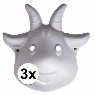 3x papier mache geiten maskers 22 cm