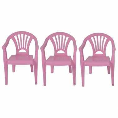 3x plastic kinderstoelen roze 37 x 31 x 51 cm
