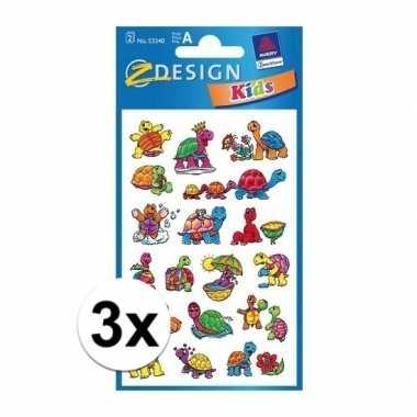3x schildpad kinder stickers 2 vellen