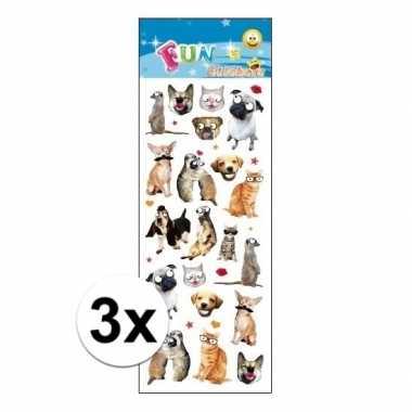 3x stickervel dieren funny