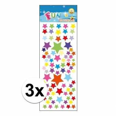 3x stickervel gekleurde sterren