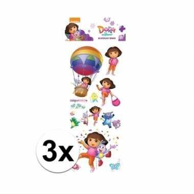 3x stickervellen 3d dora