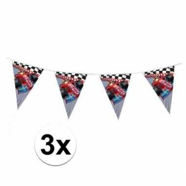 3x stuks formule 1 kinderfeest vlaggenlijnen van 3 meter