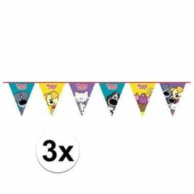 3x woezel en pip themafeest vlaggenlijn 4 meter