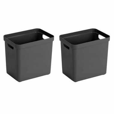 4x antraciet grijze opbergboxen/opbergmanden 25 liter kunststof