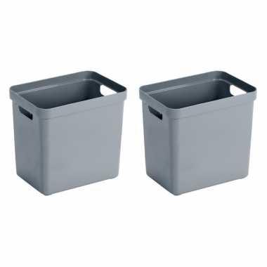 4x blauwgrijze opbergboxen/opbergmanden 25 liter kunststof