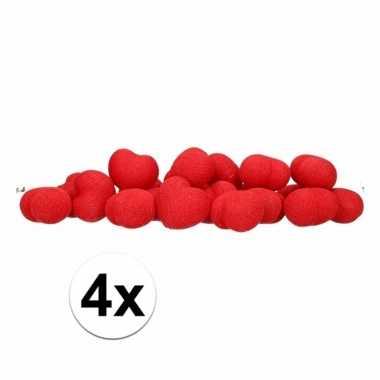 4x feestverlichting rode hartjes 20 lichtjes