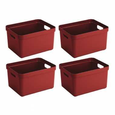 4x grote rode opberg boxen/opbergdoos/manden 32 liter kunststof