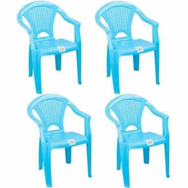 4x plastic kinderstoelen blauw gesloten leuning 37 x 31 x 51 cm
