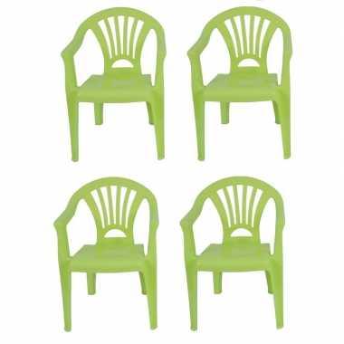 4x plastic kinderstoelen groen 37 x 31 x 51 cm