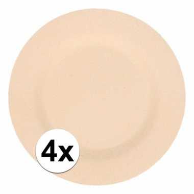 4x stevige bamboevezel borden beige 17,5 cm