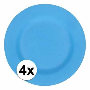 4x stevige bamboevezel borden blauw 17,5 cm