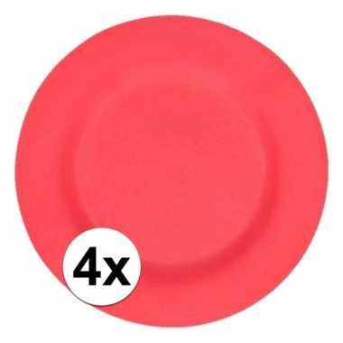 4x stevige bamboevezel borden donkerrood 17,5 cm